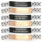 Personalized Engraved Couple Mom Love Curb Stainless Steel Chain Bracelet Gift