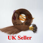 "18"" 1g Nano Ring Medium Brown Russian Virgin Double Drawn Human Hair Extensions"