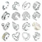 925 Silver Plated Adjustable Open Band Thumb Rings Ladies Statement Gift Wrap