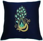 peacock blue pillows - Blue Peacock Embroidered Square Pillow Cover Poly Dupion Cushion Cover