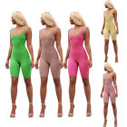 Sexy Women Sleeveless Solid Color Bodycon Short Sports Jumpsuit Casual Clubwear