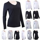100% Cotton Womens Ladies Long Sleeve T-Shirts Basic Tees Summer Tops Shirts