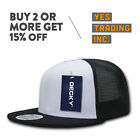 DECKY 1052 MEN'S 6 PANEL FLAT BILL TRUCKER CAP RETRO CAPS SNAPBACK HAT HATS HOT