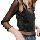 Women Perspective Mesh Net T-Shirt Long Sleeve Tee Tops Transparent Slim Blouse