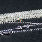 """ROLO CHAIN 925 STERLING SILVER PLATED NECKLACE WITH LOBSTER CLASPS 16"""" 18"""" 1.3mm"""