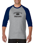 Gildan Raglan T-shirt 3/4 Sleeve USA State Property Of Indiana