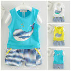 1 set baby toddler Kids boys summer outfits cotton top tank+shorts whale