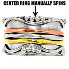 Anti Anxiety Fidget Spinner 925 Sterling Silver Spinning Ring Jewelry DGR1215