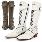 Men's Fashion Handmade Leather Buckle Belted Lace Up Long Boots 001, GENTLERSHOP