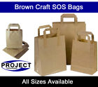 Large Brown Kraft Paper SOS Carrier Bags Flat Handles Takeaway Gifts Food Safe