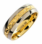 5mm or 7mm 18K Gold Plated Wedding Ring Grade 5 Titanium Band Comfort Fit Ring