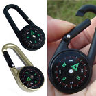 Mini 3-in-1 Carabiner Key Ring Keychain Compass Thermometer for Hiking Travel GU