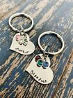 Birthstone Personalized Heart Key Ring Mother's Day Gift Keychain Mom Grandpa