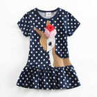 Polka Dot Deer Girls Princess Dress Children Kids Outfit Skirt T-shirt Party