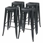 30'' Metal Counter Bar Stools High Backless Indoor-Outdoor Use Stackable, 4 pack