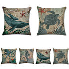 Marine Nautical Ocean Sea Life Cushion Cover Turtle Whale Pattern Pillow Case UK