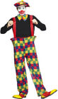 Adults Funnyside Fancy Party Multi Coloured Hooped Clown Costume Complete Dress
