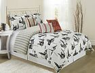 7 Piece City Time Printed Comforter Sets Queen King Black/White Fade Resistant image