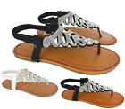 Ladies Womens Flat Diamante Toe Post Slingback Summer Beach Sandals Shoes Size