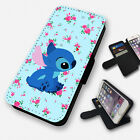 lumia 520 cases and covers - LILO AND STITCH FLORAL FLIP PHONE CASE COVER WALLET CARD HOLDER (F)