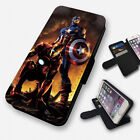 lumia 520 cases and covers - CAPTAIN AMERICA AND IRON MAN FLIP PHONE CASE COVER WALLET CARD HOLDER (F)