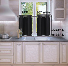 "1 SET LINED BLACKOUT PANELS KITCHEN SMALL WINDOW CURTAIN TIER 24"" OR 36"" LENGHT"