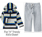 NWT Crazy 8 Boys Size 4T Microfleece Hooded Pullover Shirt & Pants 2-PC SET