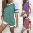 Flying Rabbit Women Color Block Short Sleeve T Shirt Casual Round Neck Tunic Top