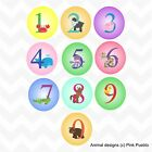 animal number circular colour vinyl wall stickers