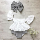 Summer Newborn Baby Girl Lace Off Shoulder Top Stripe Shorts 3Pcs Outfit Clothes