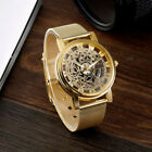 Skeleton Analog Men's Luxury Stainless Steel Mesh Band Quartz Wrist Watch  Soft image