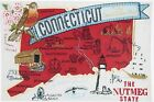 STATE OF CONNECTICUT BIRD FLOWER CITIES MACHINE EMBROIDERED QUILT BLOCK (HP)