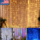 300 LED Christmas Curtain Fairy Hanging String Lights 8 Mode US Plug Connectable