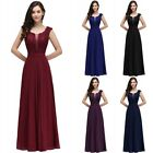 Long Evening Formal Party Dress Prom Ball Gown Bridesmaid Dresses Chiffon Us