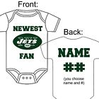 PERSONALIZED NEW YORK JETS FOOTBALL FAN BABY GERBER ONESIE OPTIONAL SOCKS GIFT