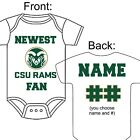 PERSONALIZED COLORADO STATE RAMS FAN BABY GERBER ONESIE OPTIONAL SOCKS GIFT