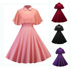 Women Vintage 50s 60s Cocktail Evening Party Rockabilly Strap Swing Dress+Cloak
