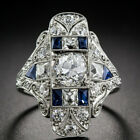 Vintage Art Deco Jewelry Silver Plated White Sapphire Gems Wedding Ring Sz 6-10