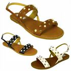 LADIES WOMENS STUDDED FLAT ANKLE BUCKLE STRAPPY SUMMER SANDALS SHOES UK SIZE 3-8