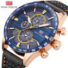 Watch Waterproof Sport Men Chronograph Genuine Leather Analog Army Quartz Luxury