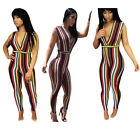 Women sleeveless colorful striped bodycon club party casual long jumpsuit