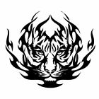 Flaming Tiger Head vinyl decal - For Cars, Laptops, Mirrors, etc.