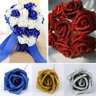 1-100pcs Foam Roses With Glitter Powder Flowers Bride Bouquet Home Wedding Decor