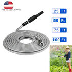 25/50/75/100ft Flexible Stainless Steel Metal Garden Water Hose Pipe w/ Nozzle