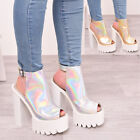 Womens High Heel Chunky Platform Party Block Heel Peep Toe Sandal Shoes Size 3-8