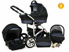 NEW Baby Pram For Newborn 3in1 Buggy Car Seat Carrycot Pushchair Travel System <br/> FORWARD&amp;REAR FACING MODE,DIAPER BAG,RAIN COVER FREEBIES