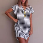Summer Casual Striped Women Cotton Straight Long T Shirt Style Preppy Desses SE