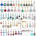 New Belly Button Rings Dangle Crystal Rhinestone Navel Bar Barbell Body Piercing