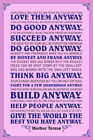 102097 Mother Teresa Anyway Pink Quote Decor WALL PRINT POSTER UK