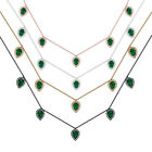 Genuine Green Onyx Gemstone Necklace Diamond Pave 18k Gold Handmade Fine Jewelry